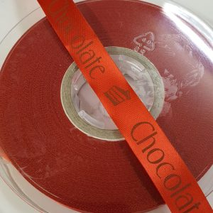 Red Ribbon worded with Chocolate | 50 metres x 15mm | Haberdashery | In2SewingMachines